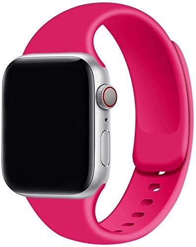 Tervoka Ersatz Armbänder für Apple Watch Armband 44mm 42mm 40mm 38mm, Weiche Silikon Ersatz Armbänder für iWatch Armband Series 6/5/4/3/2/1 (42mm/44mm M/L, Rosered)