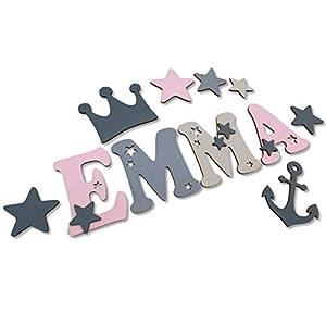 14cm Holzbuchstaben Wandbuchstaben Kinderzimmer I Tolle Farbkombinationen Jungen Mädchen I Inkl. 2 Sternen sowie…