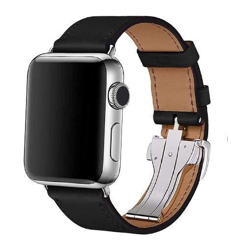 Correa de piel para reloj de 4 mm, 40 mm, 42 mm, 38 mm, compatible con Apple Watch 6, SE, 5, 4, 3, 2 (color: negro, tamaño: 42 mm, 44 mm)
