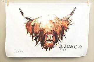 Clare Baird Creations Tea Towel in a Highland Cow Design