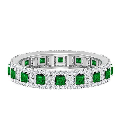 Anillo de piedras preciosas de esmeralda verde con certificado de princesa de 1/2 CT, para mujer, piedra de nacimiento Art Deco mayo, anillo de boda, piedra preciosa verde, 14K Oro blanco, Size:EU 61