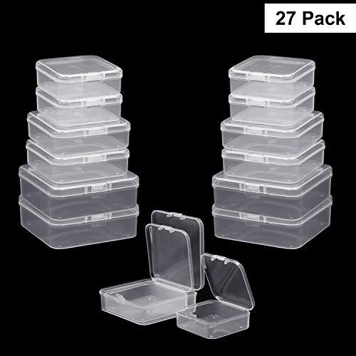 Perlen Aufbewahrungs Behälter (27er Set) - Mini Rechteckige Kunststoff Aufbewahrungsbehälter mit Deckel - 3 Größe Transparente Stapel-Box für Schmuckzubehör und andere kleine Artikel