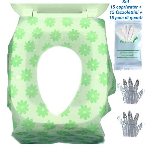 MGKolbe 45 pcs Set 15 Copriwater Usa e Getta Igienici Universali Con 15 Paia di Guanti Monouso e 15 Fazzolettino Igienizzante kit igienico Adatto Per Tavoletta WC Perfetto Per Bagni Pubblici e Privati