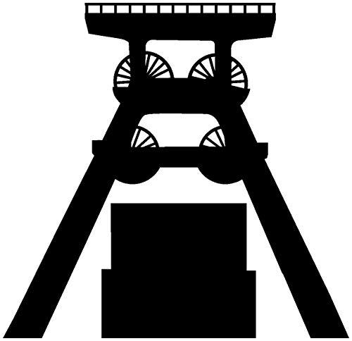 Samunshi® Autoaufkleber Zeche Zollverein Sticker Aufkleber Scheibenaufkleber Motorradaufkleber in 6 Größen und 25 Farben (10x9,6cm schwarz)