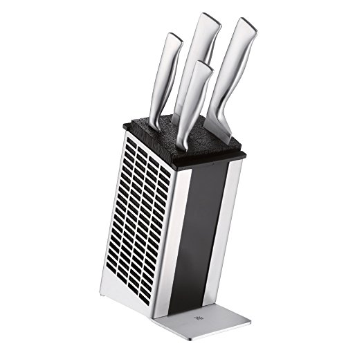 WMF Knife Block Set 5 Piece Performance Cut Double Wave Cut Knife Forged Blade Handles in Stainless Steel Made in Germany