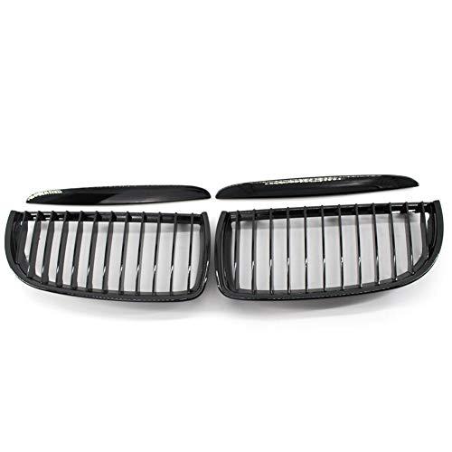 Qiilu 1 par de Rejillas frontales de radiador Parrillas de parachoques del coche para E90 05-08(negro brillante)