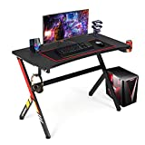 """YODOLLA Gaming Desk 45.2""""x 22.8' Gaming Table Home Computer Desk with Mouse Mat, Cup Holder and Headphone Hook Gamer Workstation Game Table,Red"""