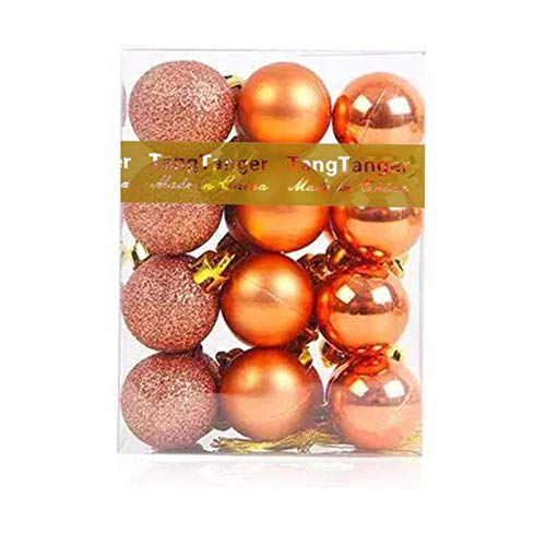 Christmas Ball Assorted Pendant Shatterproof Ball Ornament Set Seasonal Holiday Wedding Party Decorations(24 pcs, 3 cm/1.1 inch) (Orange)