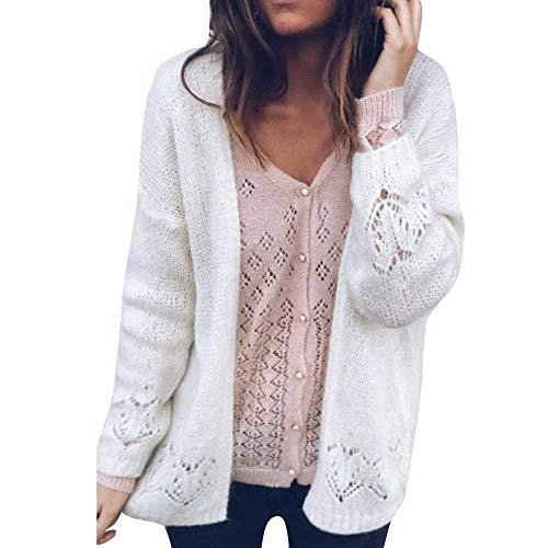 Damen Pullover Sweatshirt Cardigan Ronamick Einfarbig Langarm Gestrickt Casual Warm Stricken Strickpulli Strickjacke Strickpullover(L, Beige)