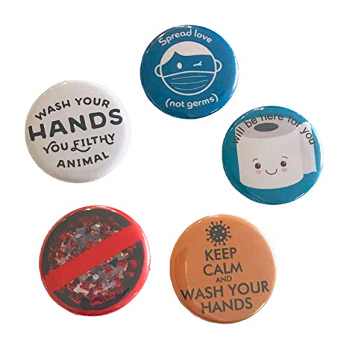 Coronavirus Keep Calm and Wash Your Hands Spread Love Not Germs 5 Piece Pin Set Quarantine Gift