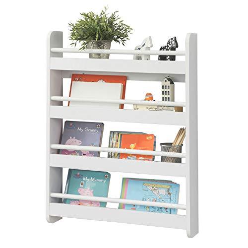 SoBuy KMB08-K-W Librería Infantil para Niños con 4 Estanterías, Estantería de Pared,Blanco,H80cm,ES
