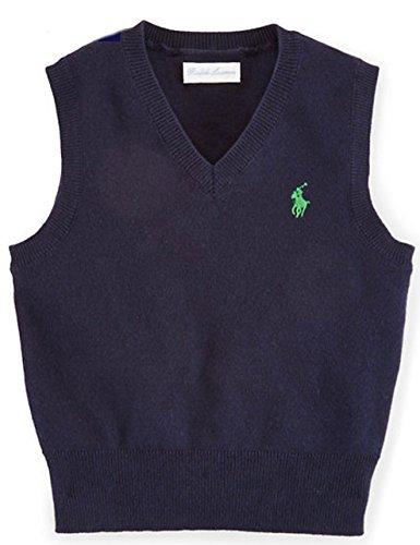 Ralph Lauren Polo Baby Boys' Cotton V-Neck Sweater Vest Hunter Navy (3 Months)