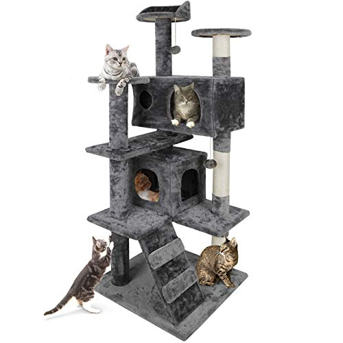 Nova Microdermabrasion 53 Inches Multi-Level Cat Tree Stand House Furniture Kittens Activity Tower