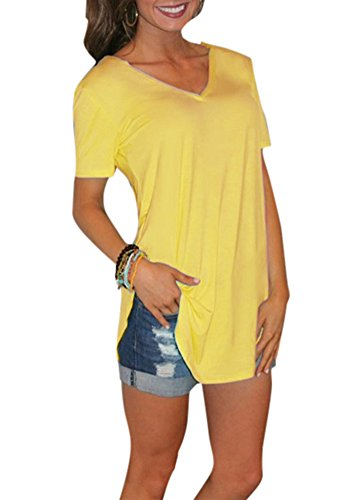 Romacci Camiseta de manga corta con cuello en V, larga y casual, tejido suave al tacto para mujer [Extra grande] [amarillo]
