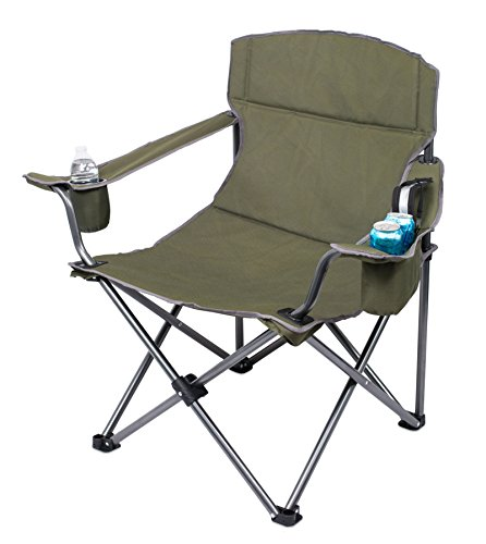 Internet's Best XL Padded Camping Folding Chair - Cooler Bag - Outdoor - Green - Sports - Insulated Cup Holder - Heavy Duty - Carrying Case - Beach - Extra Wide - Quad