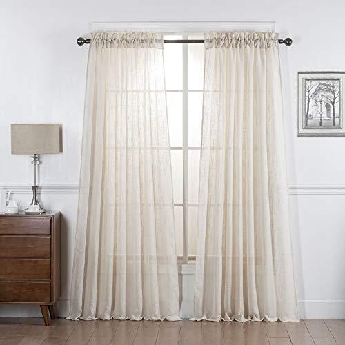 "DiamondHome 2 Panels Linen Curtains Sheer for Living Room/Bedroom Windows (84"" Long, Ivory)"