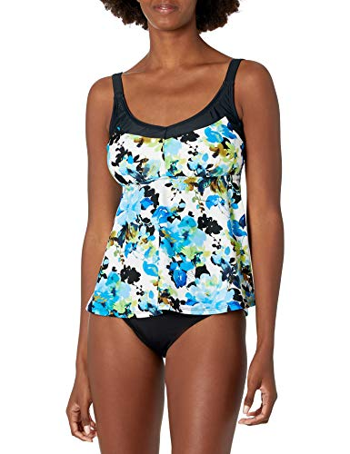 Maxine Of Hollywood Women's Deluxe Bra Cup Underwire Tankini Swimsuit Top, Multi//Royal Roses, 10D