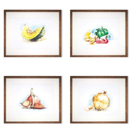 Amazon Com Set Of 4 Wall Decor Vegetable Print Art Kitchen Watercolor Paint Handmade