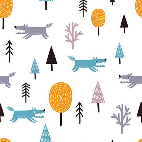 decomonkey Fototapete Kinder Kinderzimmer   Tapetenrolle 10 m Tapete Vliestapete Deko Panel Modern Design Wanddeko Wandtapete   Tiere Wolf Baum