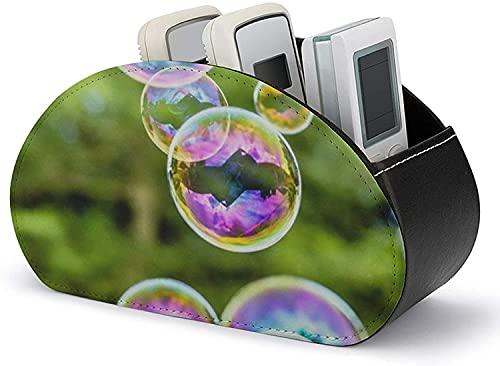 Supporto per telecomando in pelle PU, specchio d'acqua a bolle d'acqua Riflesso verde viola Organizzazione e archiviazione con 5 ampi scomparti per controller DVD / Blu-Ray / lettore multimediale /