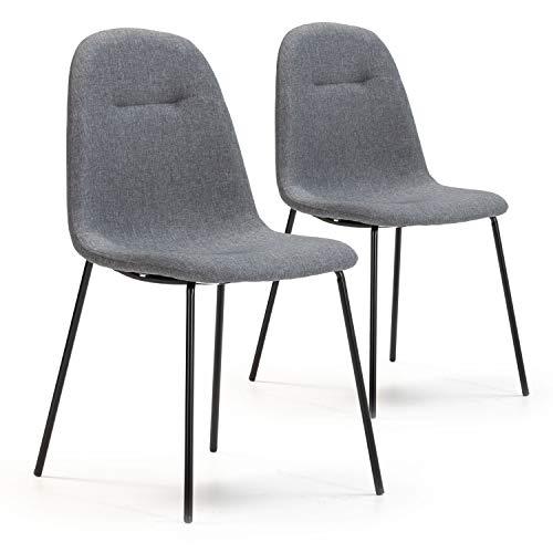 VS Venta-stock Set de 2 sillas Comedor Brenda tapizadas Gris, certificada por la SGS, 44 cm (Ancho) x 54 cm (Profundo) x 85 cm (Alto)