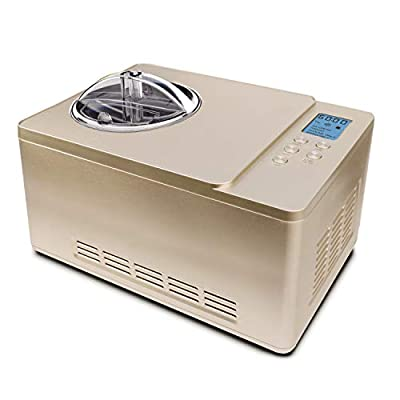 Whynter ICM-220CGY Automatic Ice Cream Maker 2 Quart Capacity Stainless Steel Bowl & Yogurt Function in Champagne Gold, with Built-in Compressor, no pre-freezing, LCD Digital Display, Timer, 2 Quart