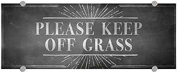 Chalk Burst Premium Brushed Aluminum Sign Please Keep Off Grass 5-Pack CGSignLab 8x3