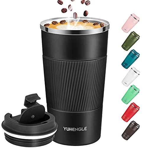YUHENGLE Thermobecher- Isolierbecher, Edelstahl Travel Mug,18oz/510ml Vakuum auslaufsicher Reisebecher mit Deckel, Autobecher, doppelwandig isoliert für Kaffee, Wasser und Tee, Kaffee-to-go Becher