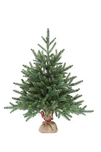 eveXmas 60cm Künstlicher Weihnachtsbaum, Tannenbaum Infinity Natürlich Grün, 59 Zweige 100% PE-Spitzen, inkl. Dekorativer Ständer im Sackleinen