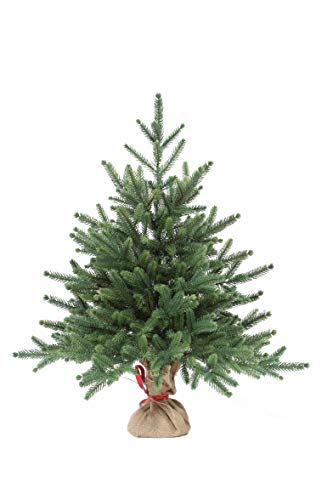 eveXmas Infinity Natural Look Artificial Christmas Tree 2ft / 60cm, 59 branches 100% PE Tips, Incl. Decorative Stand In Burlap