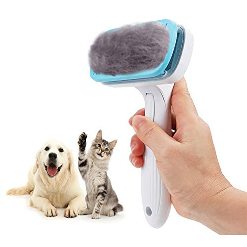 GOOING Hundebürste, Katzenbürste für langhaar mittellanges Fell Softbürste für Langhaar Universal-Pflegebürste Kunststoff Bürste Haustiere, Hunde, Katzen, Hundebürsten Mit Schutzhülle-Blau