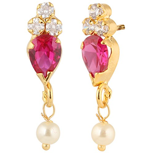 Hikaro Indian Bollywood Designer 18 k Gold Plated Traditional CZ Stud Earrings Jewelry for Women and Girls, Pink