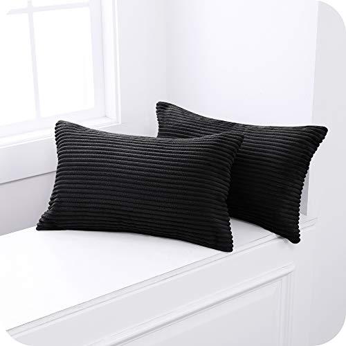 UMI Amazon Brand Fundas para Cojin Decorativas Cuadrado Suave 2 Piezas 30x50cm Negro