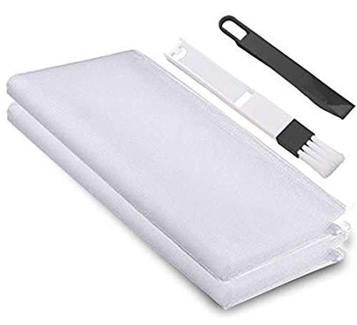 Malla Mosquitera Standard para Ventanas, 2 Unidades, 1,3 m x 1,55 m de Insectos de la Protección de la ventana se puede cortar, con 2rollos de Cintas Autoadhesivas(10mm), Blanco