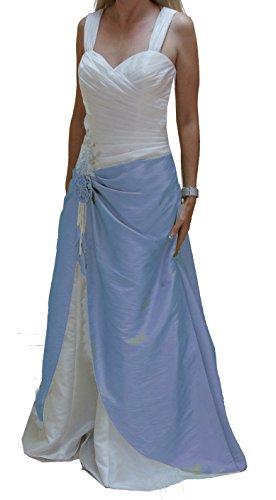 Brautkleid (Höpf) aus TAFT, Schlichter Schnitt, Träger, ohne Schleppe, gerafft für tolle Figur, A-Linie, Creme-blau, Gr. 44