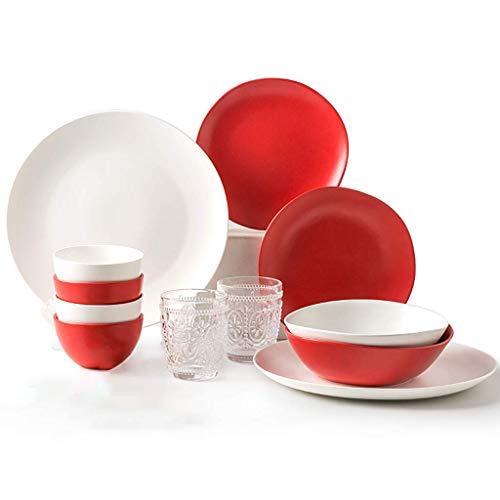 HKX De vajilla Creativity Ceramics, 36 Piezas de vajilla de Porcelana Mate de Año Nuevo |Cuenco, Cuchara y Plato Aptos para microondas para Regalos de Boda y inauguración de una casa