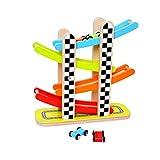 Tooky Toy bunte Holz Rollbahn Auto Kugelbahn in Parkhaus-Design, inkl. drei farbige Spiel-Autos,