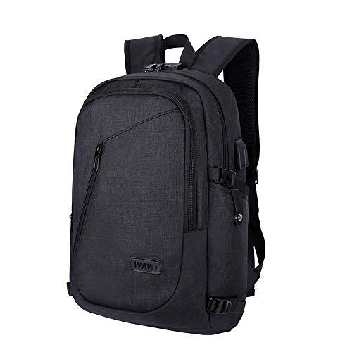 Mochila antirrobo Impermeable, WAWJ Mochila para portátil Multiusos Daypacks con Puerto de Carga USB (Negro)