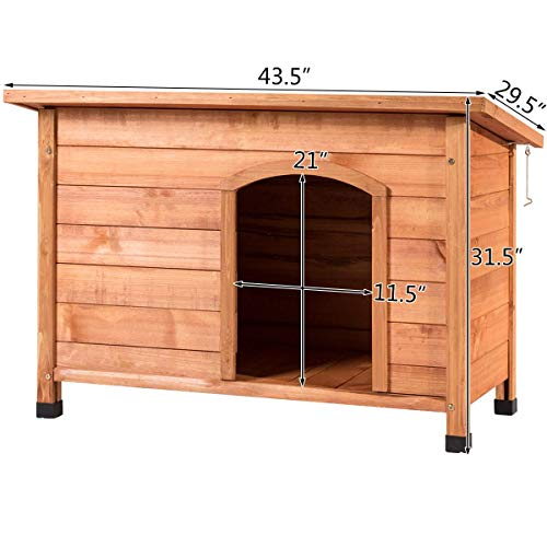 Tangkula Dog House, Outdoor Weather-Resistant Wooden Log Cabin, Home Pet Furniture, Pet House with Adjustable Feet & Removable Floor, Pet Dog House(Extra Large)