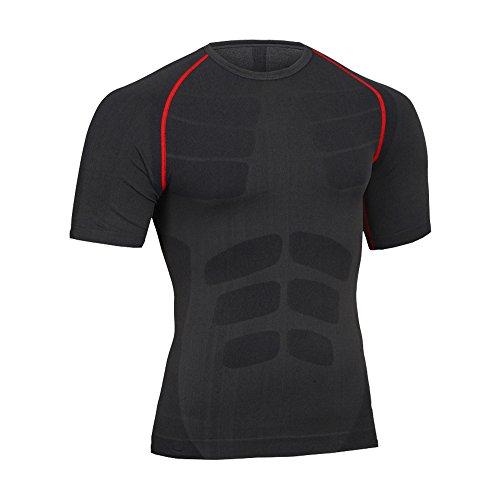Fitsund Herren Kompressions Shirt Fitness T-Shirt Schnell Trocknend Sport Funktionsshirt Gr. M-XL (Grau-Rot, M)