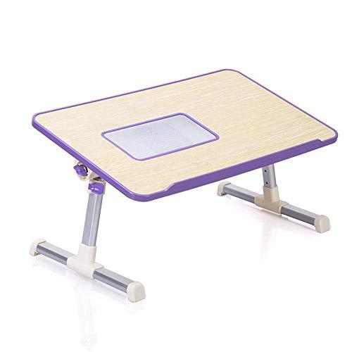 Laptop Tisch Großes Bett Schreibtisch, Faltbare Steh Schreibtisch für Kinder Frühstück Tablett Tragbare Schlafsofa Klappboden Tisch Notebook Ständer Couch Persönliche Esstisch (Farbe: Lila)