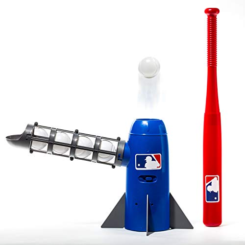 Franklin Sports MLB Kids Pitching Machine - POP ROCKET Kids Baseball Trainer - Includes 5 Plastic Baseballs & Baseball Bat