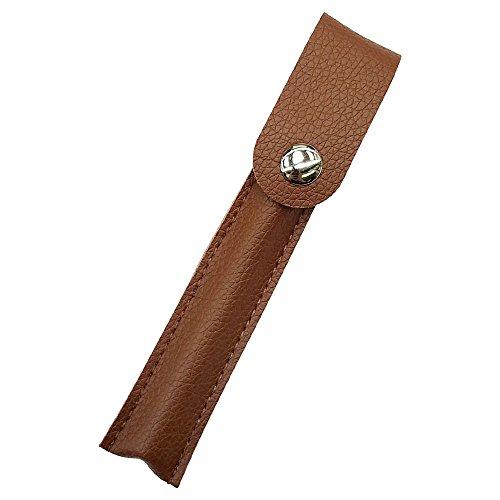プルームテック ケース (ブラウン) Ploom TECH ケース カバー PU レザー スリム コンパクト 合皮 シンプル 無地 電子タバコ 保護 収納 ポーチ ホルダー