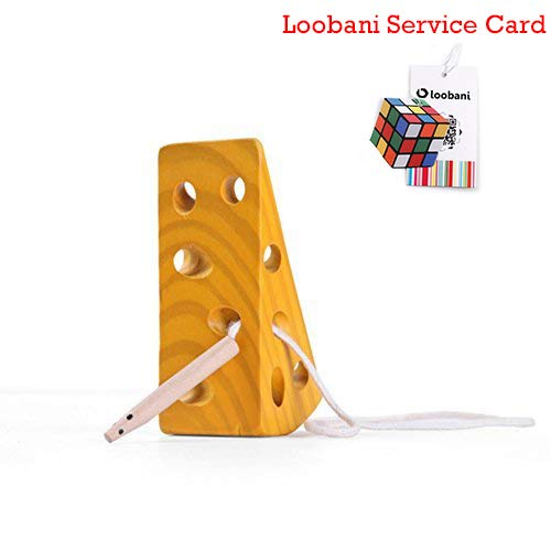 Loobani Montessori Activity Wooden Baby and Kids Cheese Toys Toddler Travel Lacing Game for Plane Car, Children Early Learning Educational Wood Block Puzzles, Suitable for Boy / Girl Above 18 Month