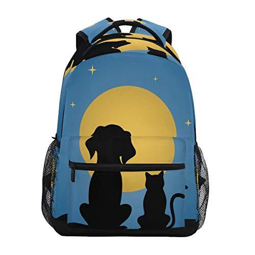 LUCKYEAH - Mochila escolar para perro, gato, luna, cielo estrellado, bolsa para...