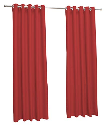 John Aird Eyelet Thermal Energy Saving Blackout Curtains + Free Tie Backs (Red, 168cm Width x 183cm Drop (66'x72')