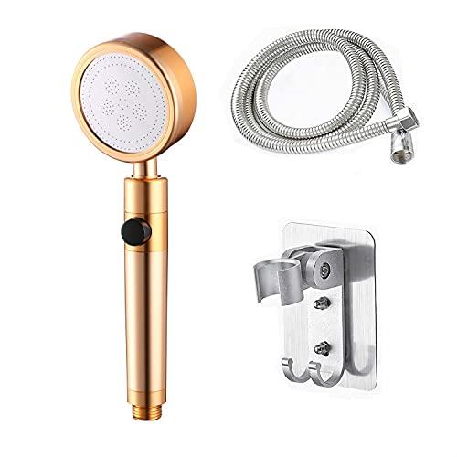shuwen Aleación Aluminio Juego boquillas y mangueras Ducha presurizadas con Interruptor para Detener el Agua,con1.5M Manguera Ducha Soporte-Golden C