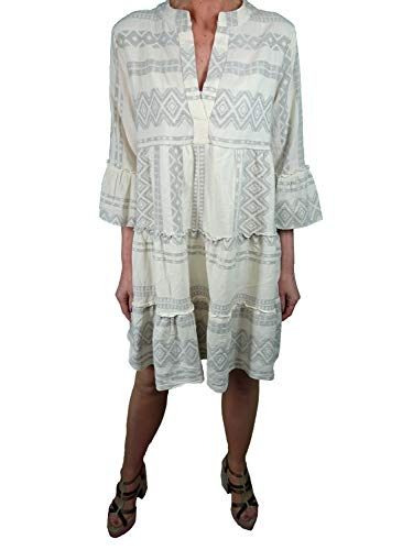 Italy Fashion Tunika Kleid| Ibiza Boho Hippie Look| mit gerüschten Stufen im Ethno Muster| lockeres Hängerchen mit V-Ausschnitt one Size passend bis Größe 42 grau