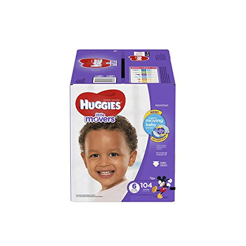 HUGGIES LITTLE MOVERS Active Baby Diapers, Size 6 (fits 35+ lb.), 104 Ct, ECONOMY PLUS (Packaging...