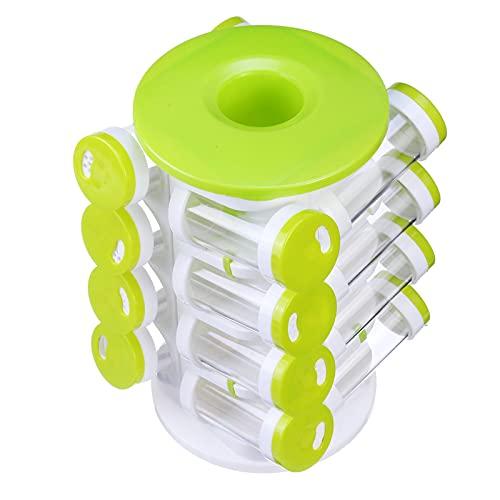 DorisAA Almacenamiento JarHoles - Soporte para botellas de especias (360 unidades, giratorio), organizador de exhibición de la encimera de la cocina, 16 frascos